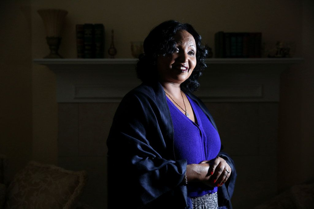 Safia Ismael, who immigrated from Djibouti to the U.S. in the late 1980s, is photographed at her home in Lewisville. (Rose Baca/The Dallas Morning News)