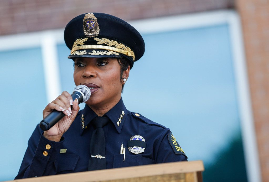 Dallas Police Chief U. Renee Hall speaks during an unveiling ceremony for a memorial in honor of the five officers who died on July 7, 2016. Hall is currently on leave after having surgery.