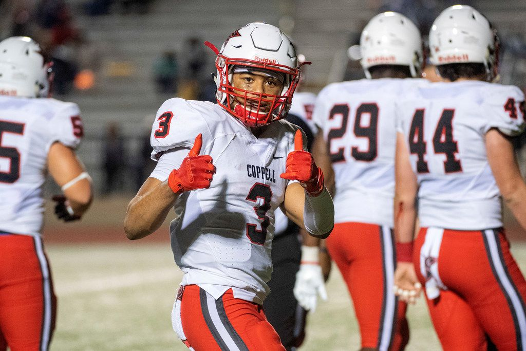 Coppell senior defensive back Jonathan McGill (3) gives two thumbs up to the camera during the second half of a high school football game against Irving on Friday, October 26, 2018 at Joy and Ralph Ellis Stadium in Irving, Texas. Coppell won 48-13. (Jeffrey McWhorter/Special Contributor)