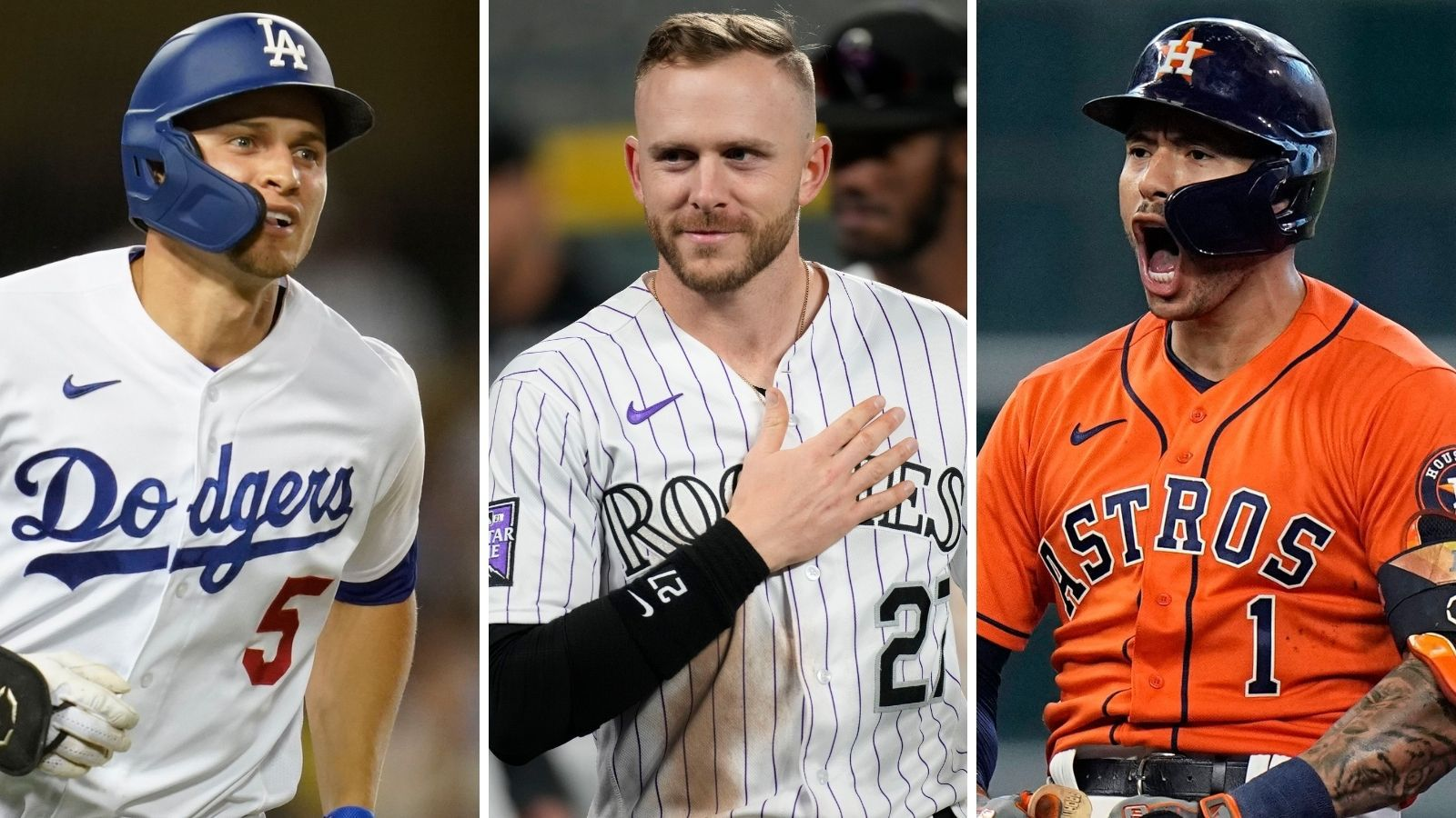 From L to R: Dodgers shortstop Corey Seager, Rockies shortstop Trevor Story and Astros shortstop Carlos Correa. Images from The Associated Press.