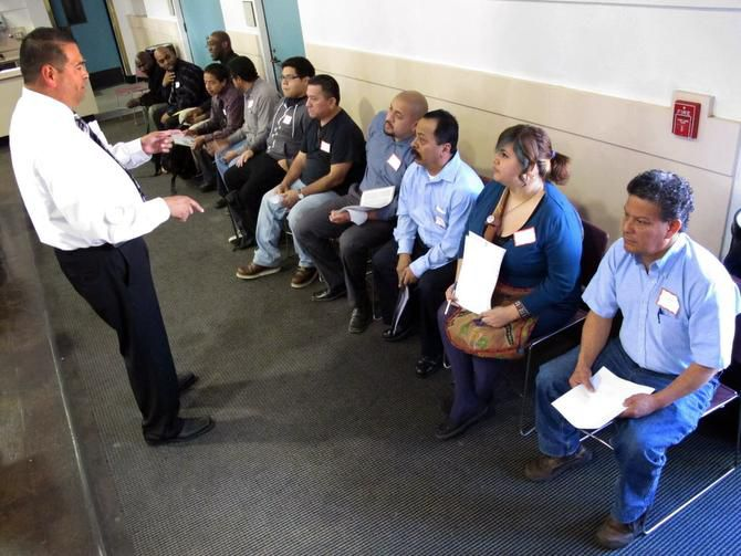People wait to interview at a job fair in Bell, Calif. Last year, the jobless rate for Hispanics in the Golden State was 10.2 percent. In Texas, it was 6.9 percent.