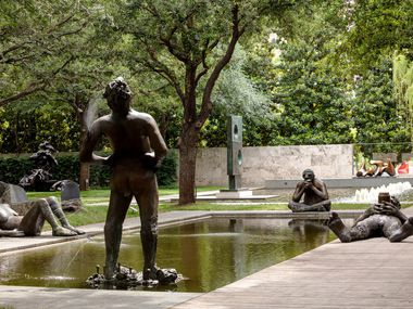 Nicole Eisenman's Sketches for a Fountain includes five bronze figures at the Nasher Sculpture Center, which is one of the arts organizations participating in a new program called Culture Pass.