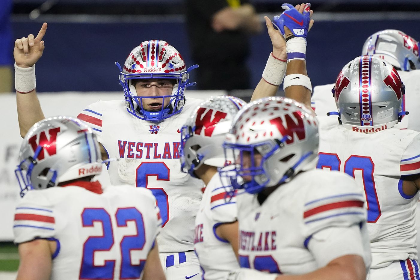 Austin Westlake quarterback Cade Klubnik (6) celebrates a touchdown run by running back Grey Nakfoor (22) during the fourth quarter of the Class 6A Division I state football championship game against Southlake Carroll at AT&T Stadium on Saturday, Jan. 16, 2021, in Arlington, Texas. Westlake won the game 52-34.
