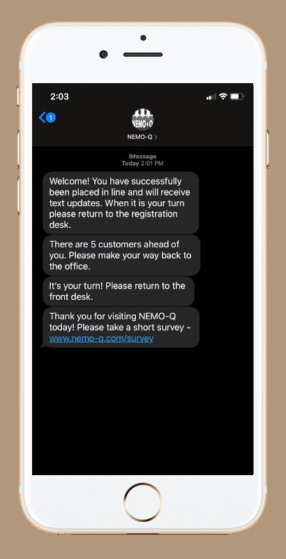 A sample text message from the NEMO-Q system. The McKinney company is working with stadium operators as they look to find socially distant ways to get fans into their events.