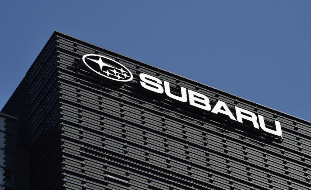 The logo of Subaru, the automobile manufacturing division of Japanese transportation conglomerate Fuji Heavy Industries, is displayed at a car showroom in Tokyo on February 8, 2017. / AFP PHOTO / KAZUHIRO NOGIKAZUHIRO NOGI/AFP/Getty Images