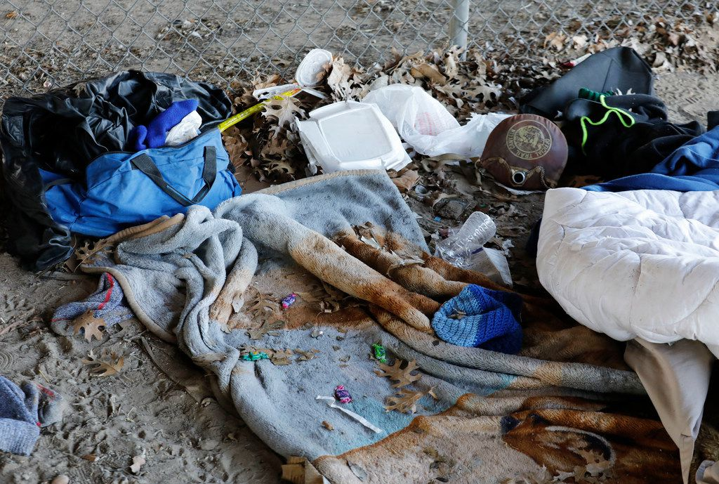 Some of the personal belonging that belonged to an elderly homeless man that was found dead under Interstate 45 and Harwood St. in Dallas, Wednesday, January 17, 2018. (David Woo/The Dallas Morning News)