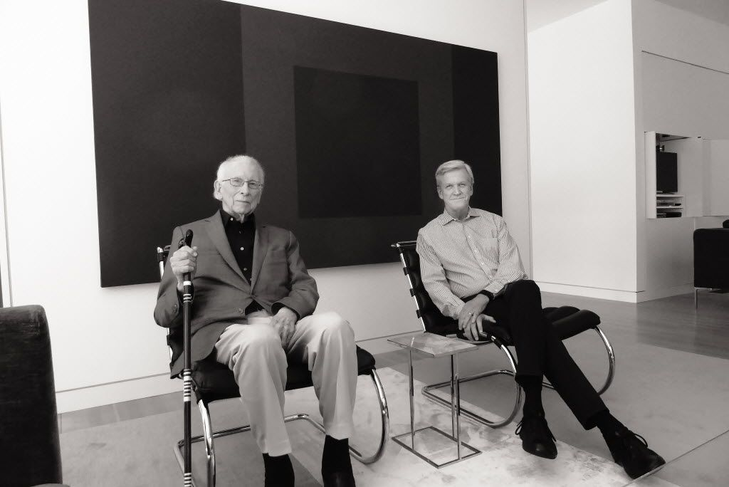 E.G. Hamilton, lead architect of the original NorthPark Center, with architect Mark Dilworth, who headed up its later expansion, photographed at Hamilton's house by Dallas Morning News architecture critic Mark Lamster for FD magazine
