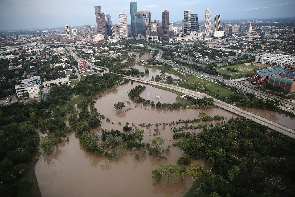 Flooding continues to be shown near downtown Houston