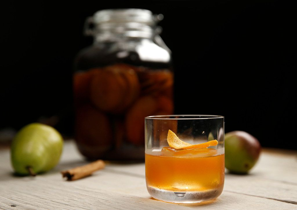 Cinnamon Pear Old-Fashioned with infused bourbon by Alex Fletcher