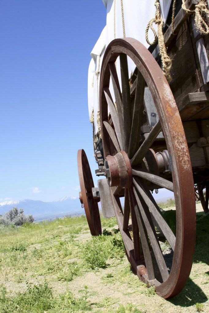 A historic wagon on display at the National Historic Oregon Trail Interpretive Center near Baker City, Ore.