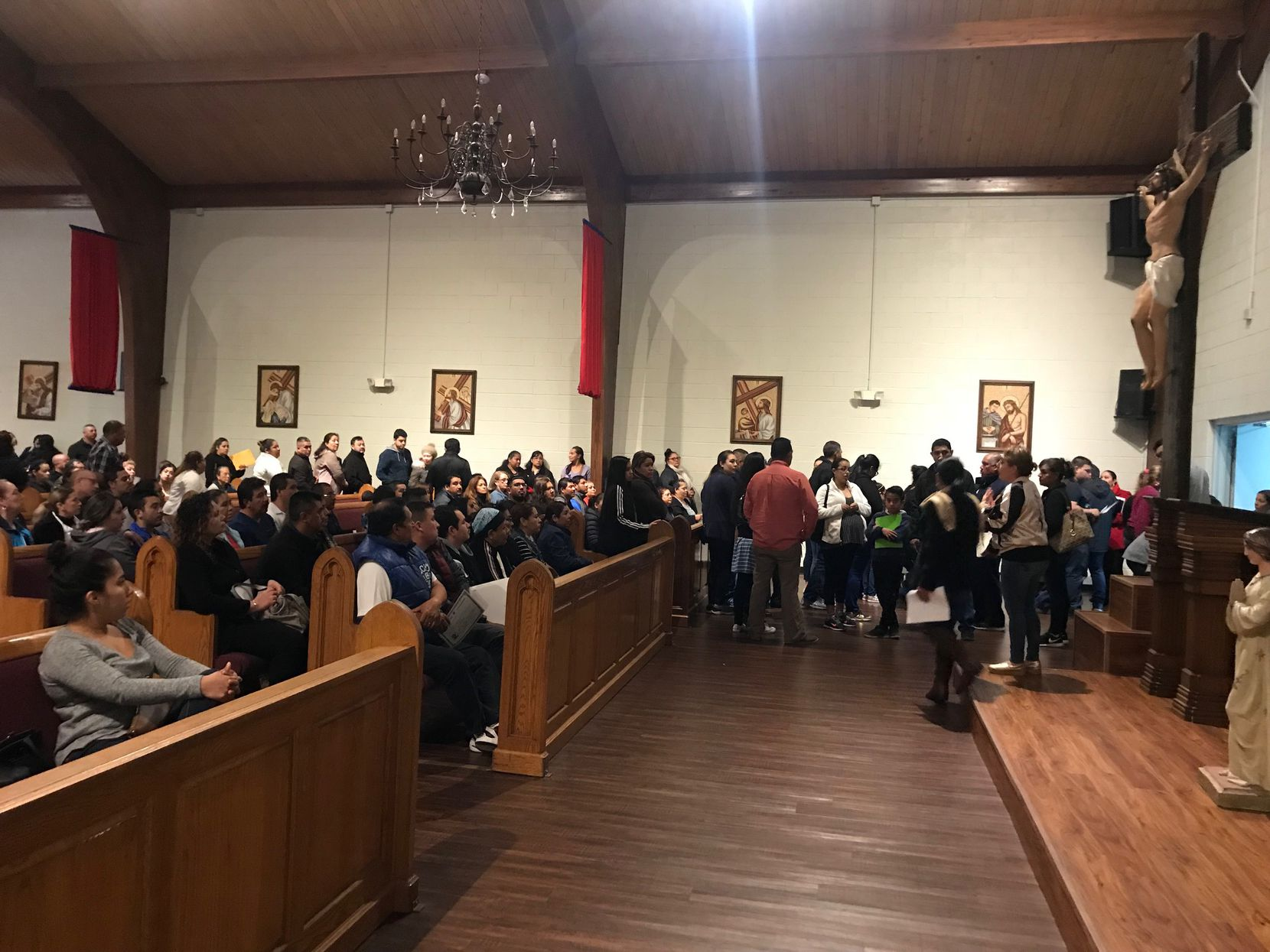 Hundreds of people wait their turn to apply for a church-issued identification cards at San Juan Diego Catholic Church in Dallas during a recent ID card event. Many of them are immigrants living in the U.S. illegally and are unable to apply for a Texas-issued ID card. (Elvia Limon/The Dallas Morning News).
