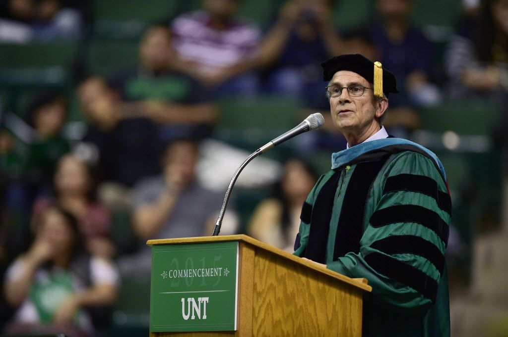 University of North Texas System chancellor Lee Jackson speaks at the 2015 UNT commencement, Saturday, May 16, 2015, at the UNT Coliseum in Denton, TX. David Minton/DRC