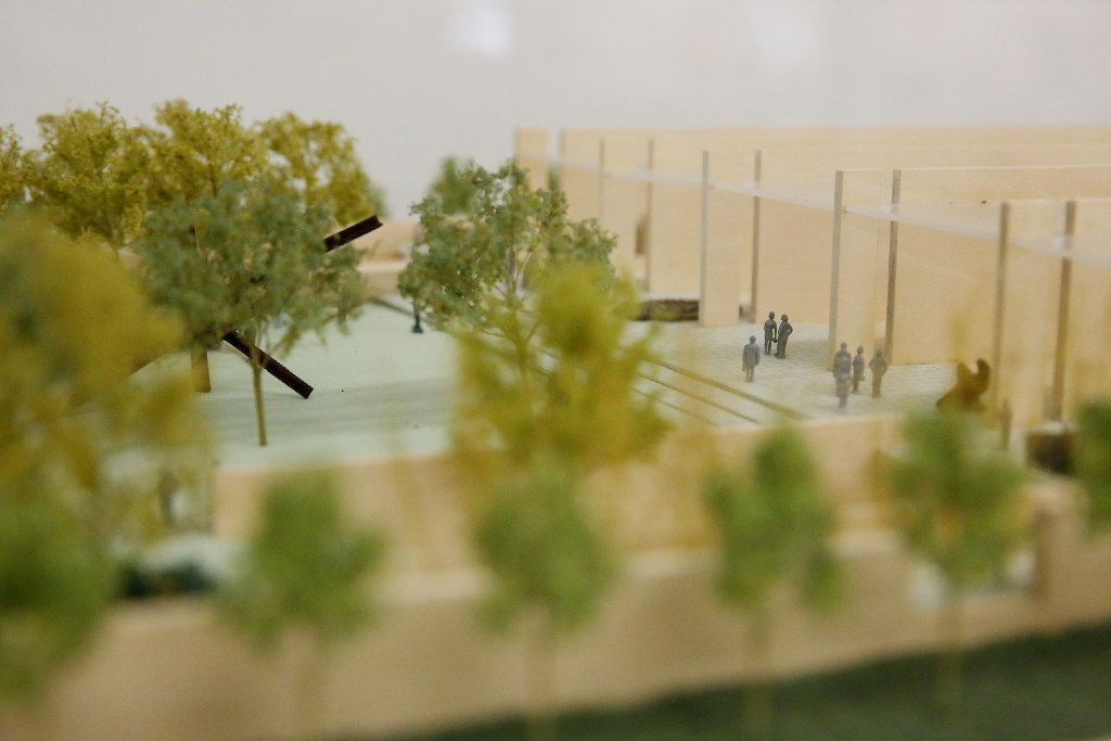 A model of the Nasher Sculpture Center at the office of architect Peter Walker. (Andy Jacobsohn/The Dallas Morning News)