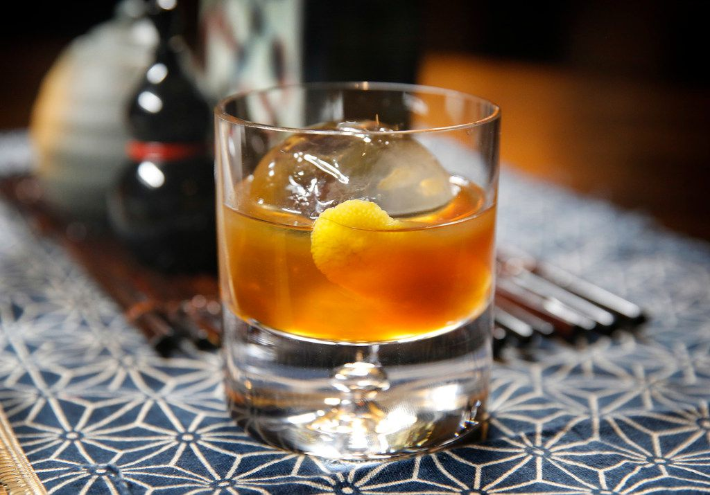 An old-fashioned made with soba-infused whisky and chocolate and walnut bitters.