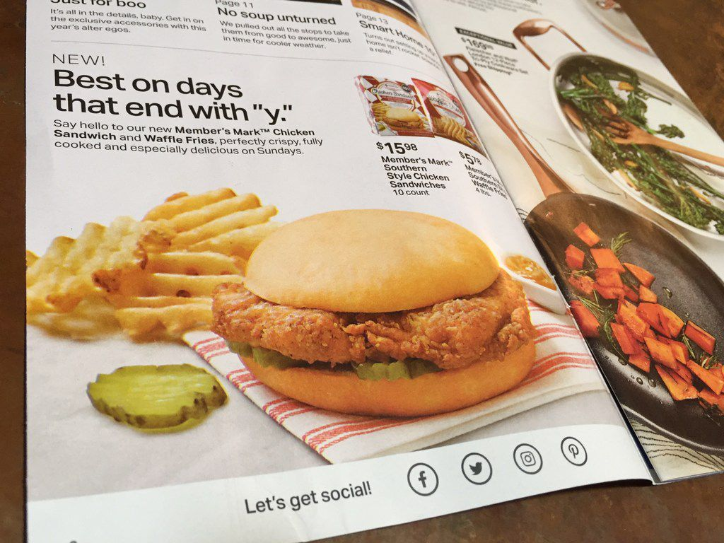 """Photo of a page from the new Sam's Club (Aug. 21-Sept. 15, 2019) circular featuring Member's Mark frozen southern style chicken sandwiches and waffle fries. The new products are being pitched to Chick-fil-A customers. The ad says, """"especially delicious on Sundays."""" Chick-fil-A is closed on Sundays."""