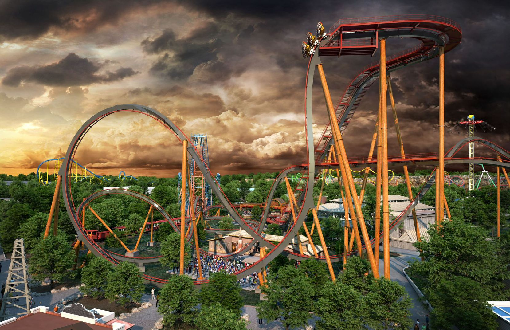 Dr. Diabolical's Cliffhanger rollercoaster will be the world's steepest dive coaster when it opens at Six Flags Fiesta in San Antonio in 2022.