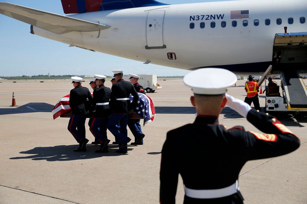 Marines carry the remains of Marine Corps  Pfc. Grady J. Crawford at DFW international Airport on Friday, September 27, 2019. Crawford, 21, of Dallas, was killed in the Korean War during the famous battle of the Chosin Reservoir on Dec. 1, 1950. His body was missing until this year when his remains were identified. (Vernon Bryant/The Dallas Morning News)