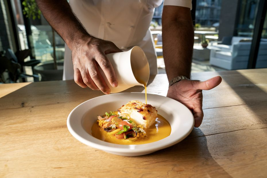 Chef Junior Borges' black cod moqueca uses a plantain miso, which takes more than six months to make.