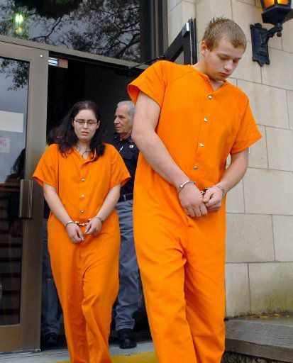 Jesseca Carson and Blaine Milam were led from the Rusk County courthouse in Henderson in 2008. She was 18 and he was 19 at the time.