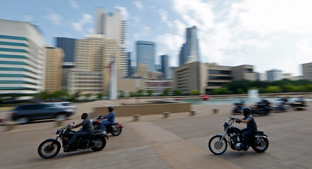 Bikers leave Dallas City Hall during the Officer Down Foundation memorial ride on July 7.