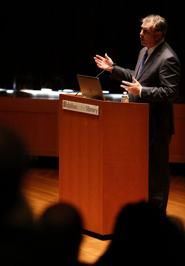 Dallas Mayor Mike Rawlings discusses the Mayor's Task Force on Poverty on Tuesday, Nov. 27, 2018 at the J. Erik Jonsson Central Library in Dallas. (Ryan Michalesko/The Dallas Morning News)