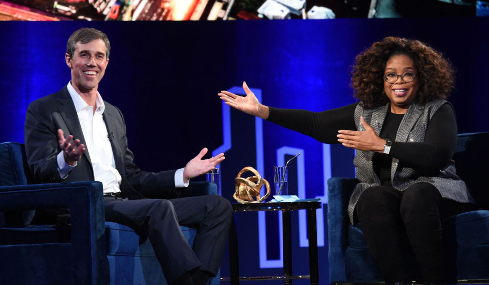 Beto O'Rourke and Oprah Winfrey spoke onstage at Oprah's SuperSoul Conversations at PlayStation Theater on Feb. 5, 2019 in New York City.