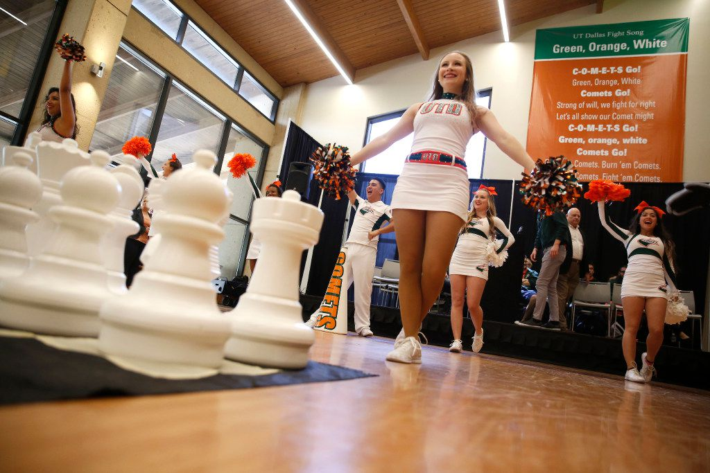 Lauren Massey, a UTD Power Dancer, performs during a pep rally for the University of Texas at Dallas chess team in Richardson on Wednesday. The chess team will compete in the Final Four of College Chess.