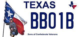Proposed Texas Sons of Confederate Veterans Texas motor vehicle license plate.