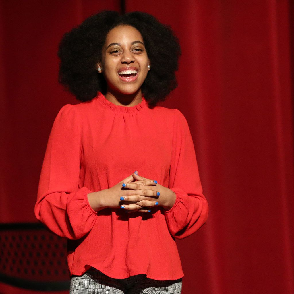 Houston School for the Performing and Visual Arts' Callie Holley performs a monologue during the Dallas Regional Finals of the August Wilson Monologue Competition at the Bob Hope Theatre at Southern Methodist University in Dallas on Feb. 19, 2018. Holley finished in first place in the competition.