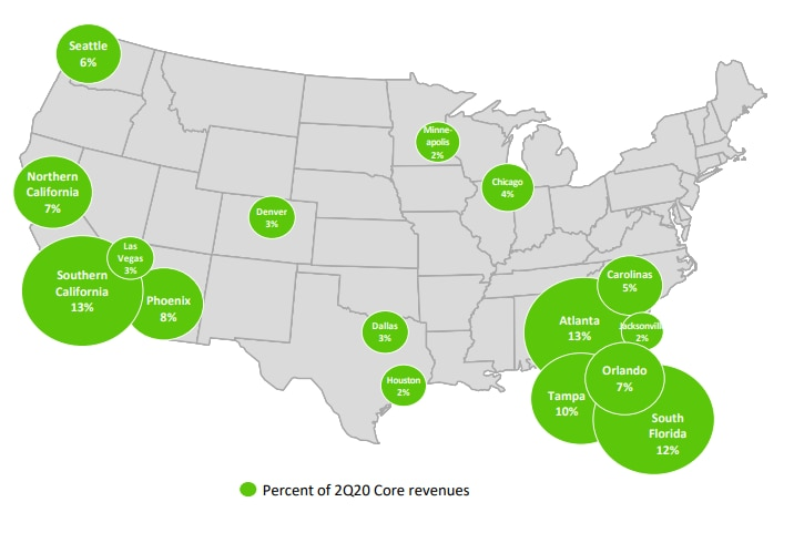 The geographic footprint of Dallas-based Invitation Homes, according to a company investor presentation in September.