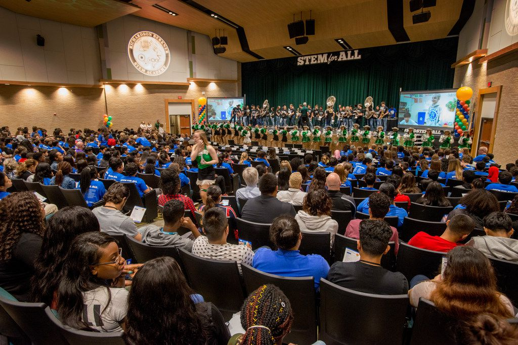 This file photo shows students participating in a pep rally at Berkner High School celebrating the school district's STEM For All launch on May 16, 2018 in Richardson.