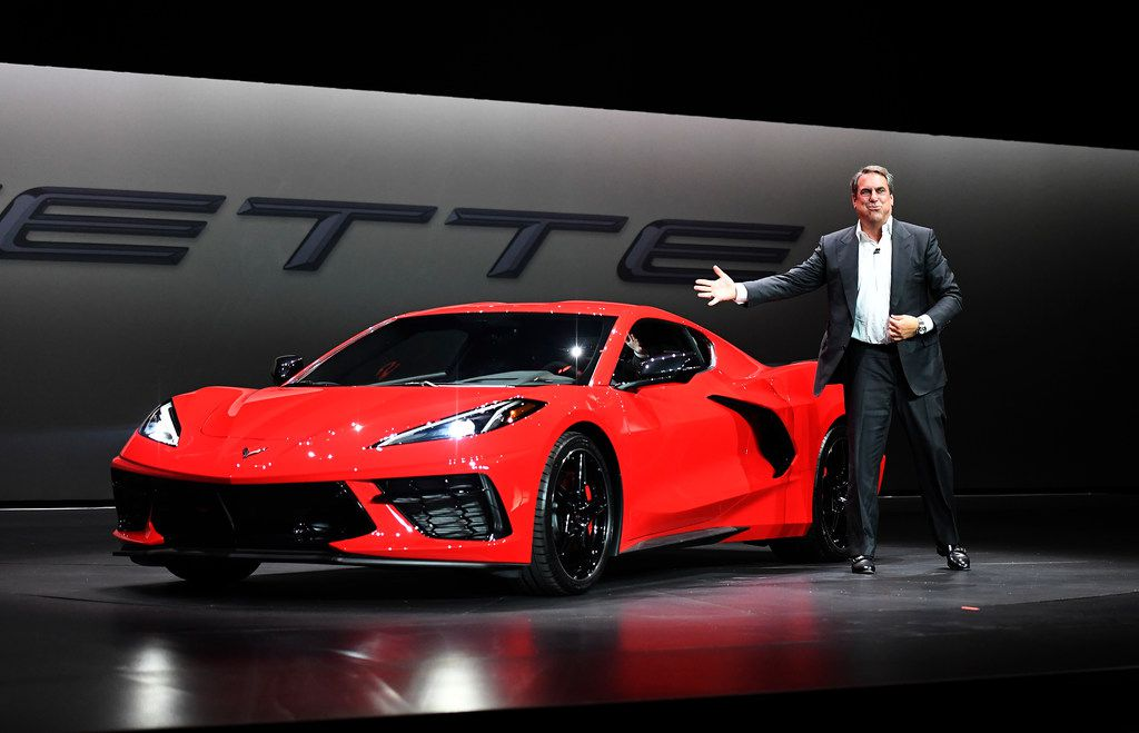 TUSTIN, CA - JULY 18: Mark Reuss, president of General Motors Company, unveils the 2020 mid-engine C8 Corvette Stingray during a news conference on July 18, 2019 in Tustin, California. (Photo by Kevork Djansezian/Getty Images)
