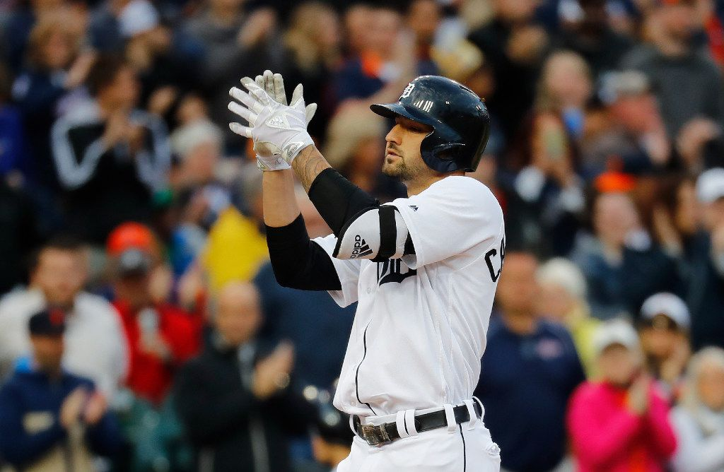 Detroit Tigers' Nicholas Castellanos celebrates his solo home run against the Texas Rangers in the third inning of a baseball game in Detroit, Saturday, May 20, 2017. (AP Photo/Paul Sancya)