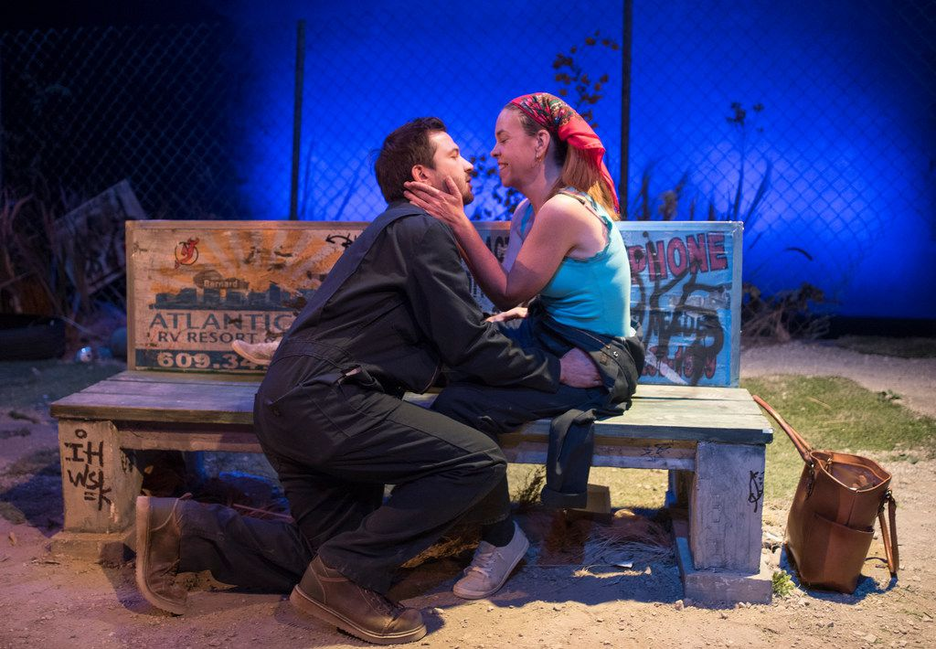 Seth Magill (Maks), left, and Karen Parrish (Darja) perform a scene from the regional premiere of Martyna Majok's  Ironbound  at Kitchen Dog Theater on Oct. 26, 2017 at the Trinity River Arts Center in Dallas. Majok won the 2018 Pulitzer Prize for drama for Cost of Living, it was announced April 16, 2018.