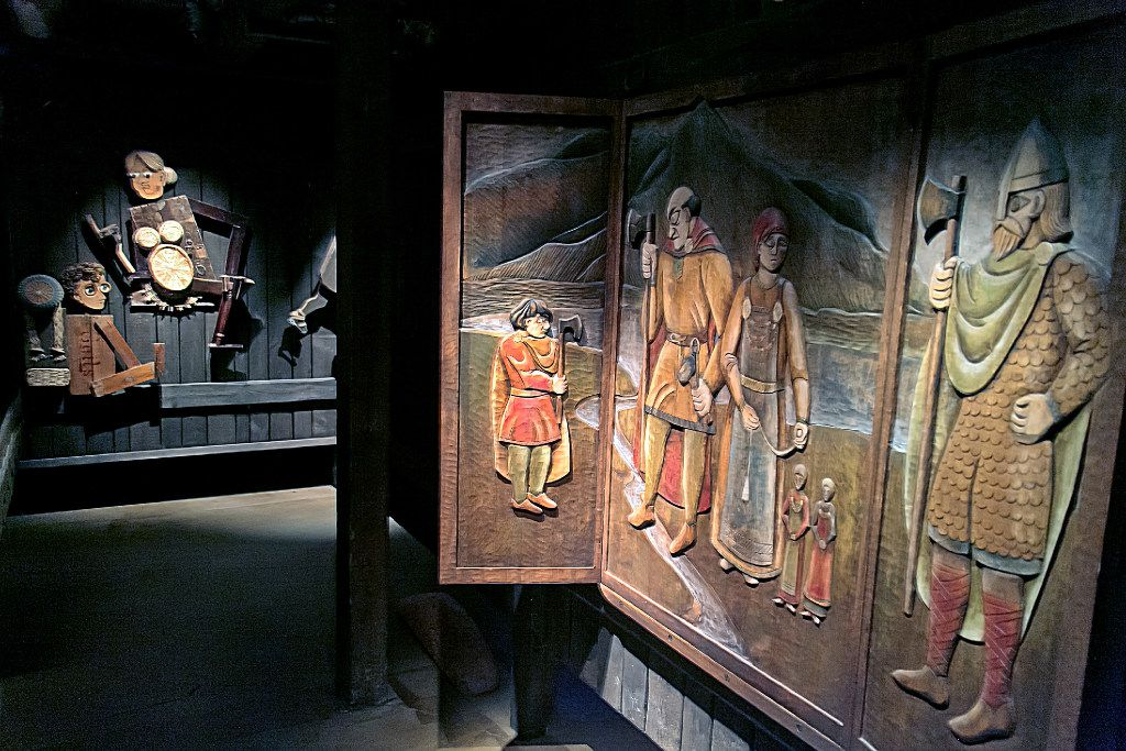 Egil's Saga is artistically interpreted at the Settlement Center in Borganes, Iceland.