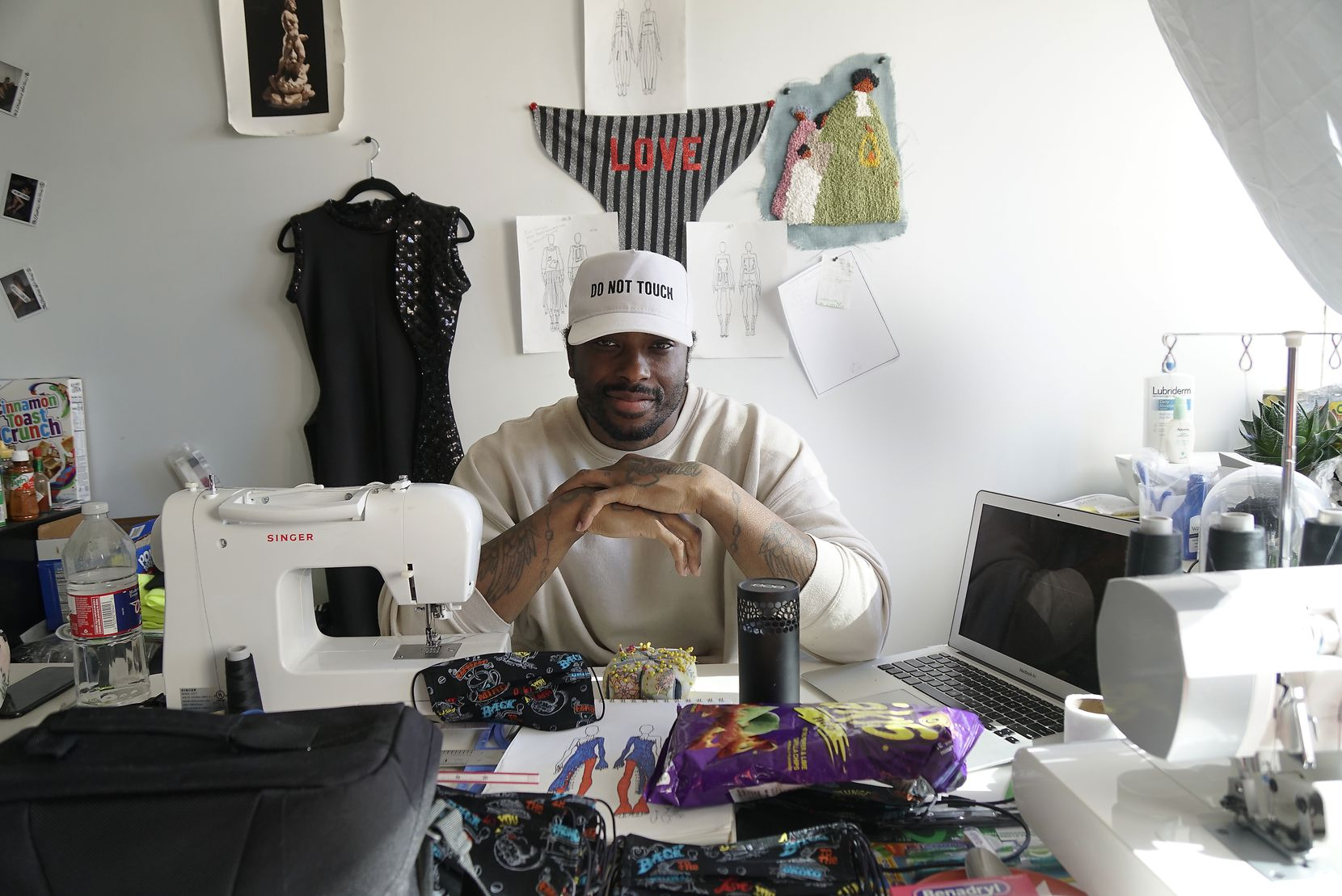 Fashion Designer Charles Smith in his studio in Dallas, Texas on Tuesday, March 24, 2020.