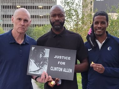 Mavericks coaches Rick Carlisle (left), Jamahl Mosley (center) and Stephen Silas pose at the  394 Tuesdays Without Clinton  event at Pacific Plaza in downtown Dallas on Sept. 29. The event honors Clinton Allen, who was shot and killed by a Dallas police officer in 2013.