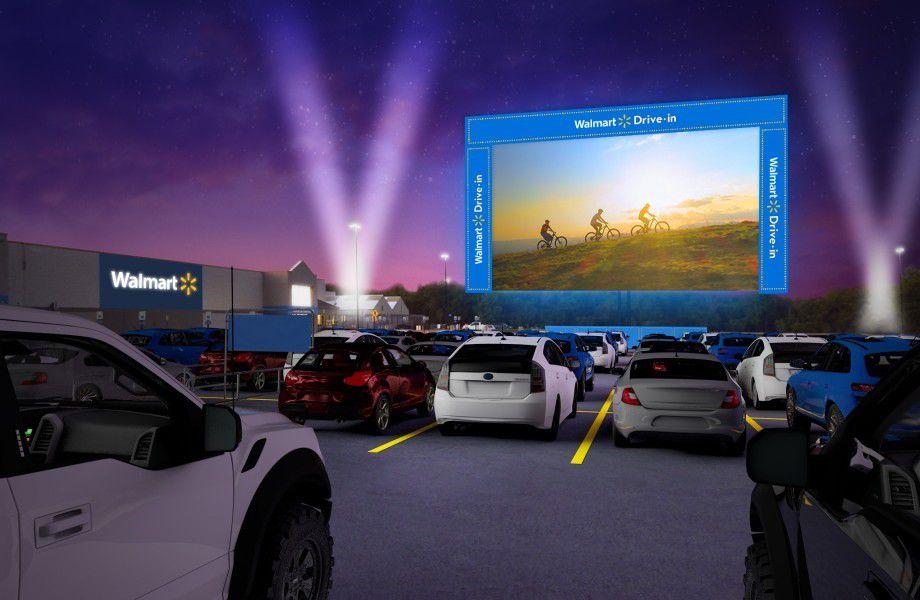Walmart está transformando estacionamientos en 160 sucursales en autocinemas hasta octubre.