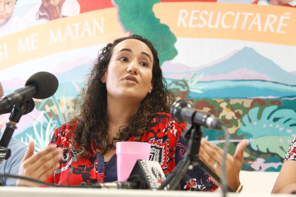 Pediatrician Lisa Ayoub-Rodriguez speaks Tuesday, July 2, 2019, at a shelter in El Paso, Texas, about treating migrant children released from Border Patrol detention centers along the Southwest border.