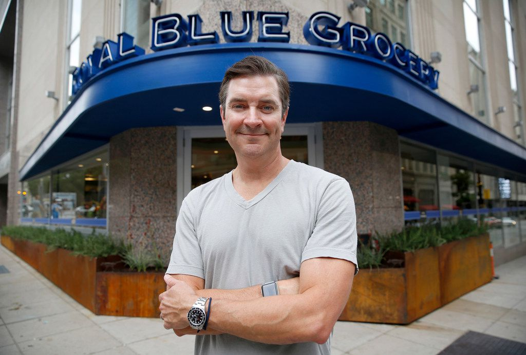 Royal Blue Grocery co-owner Zac Porter is pictured outside his new store about to open at Main and Ervay streets in downtown Dallas, Friday, July 27, 2018. (Tom Fox/The Dallas Morning News)