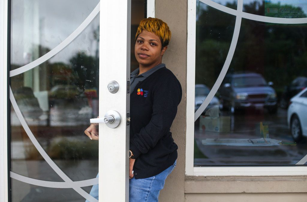 "Camille Mitchell, leader of a community center daycare program, near where 13-year-old Malik Tyler, of Dallas, was killed after being caught in the crossfire of a shootout near a Pleasant Grove gas station Tuesday evening on Wednesday, June 5, 2019 in Dallas. ""He had a heart of gold,"" said Camille Mitchell, a daycare program leader who said Tyler was a regular attendee. ""He was a good kid, a good student and always wanted to help any way he could."" (Ryan Michalesko/The Dallas Morning News)"