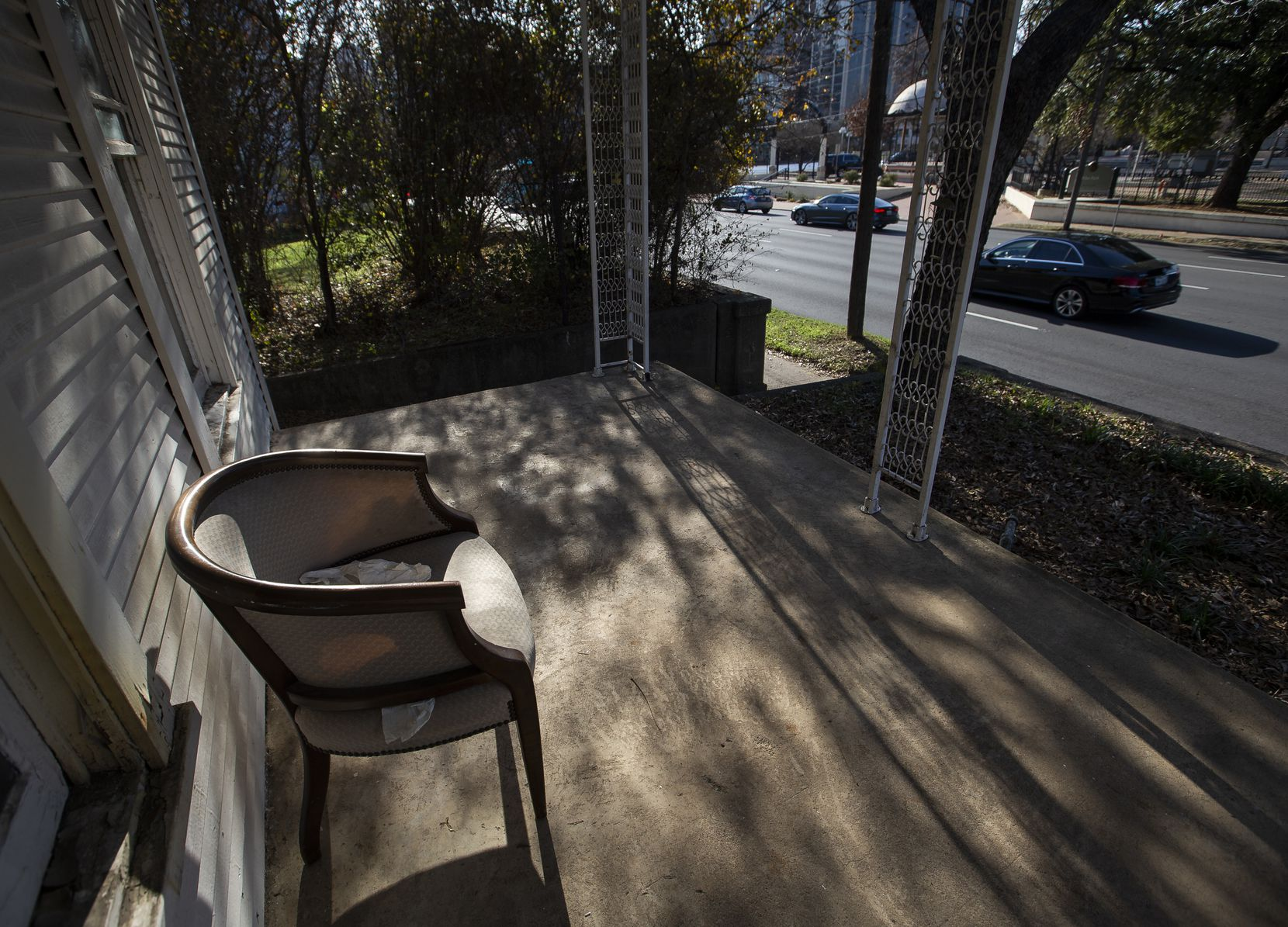 A view of Harry Hines Boulevard from Charlie Villasana's former house, now awaiting demolition.