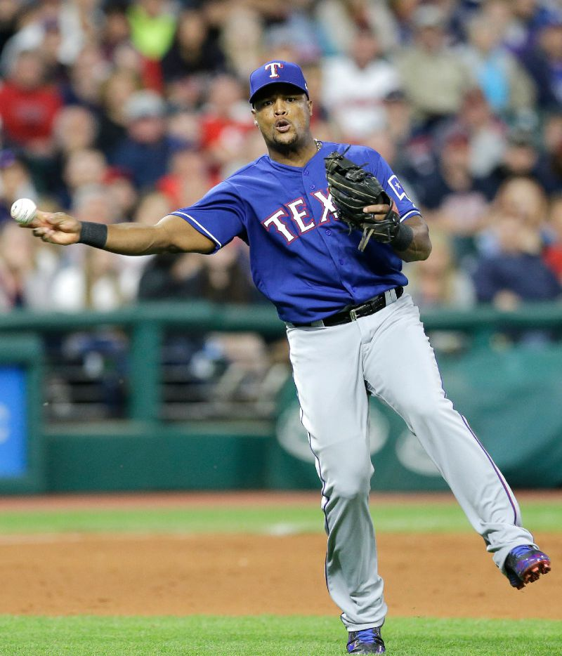 Texas Rangers' Adrian Beltre throws out Cleveland Indians' Yan Gomes at first base in the eighth inning of a baseball game, Tuesday, June 27, 2017, in Cleveland. (AP Photo/Tony Dejak)