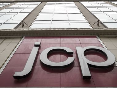 The J.C. Penney logo hangs outside a Manhattan mall in New York.