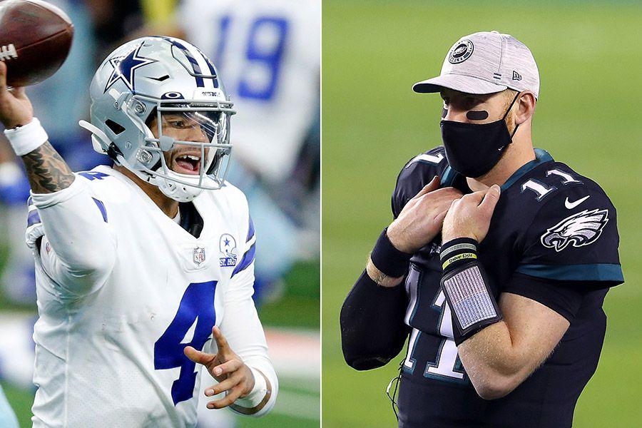 Cowboys quarterback Dak Prescott (left) and Eagles quarterback Carson Wentz. (Photo credit L to R: The Dallas Morning News, Mitchell Leff/Getty Images)