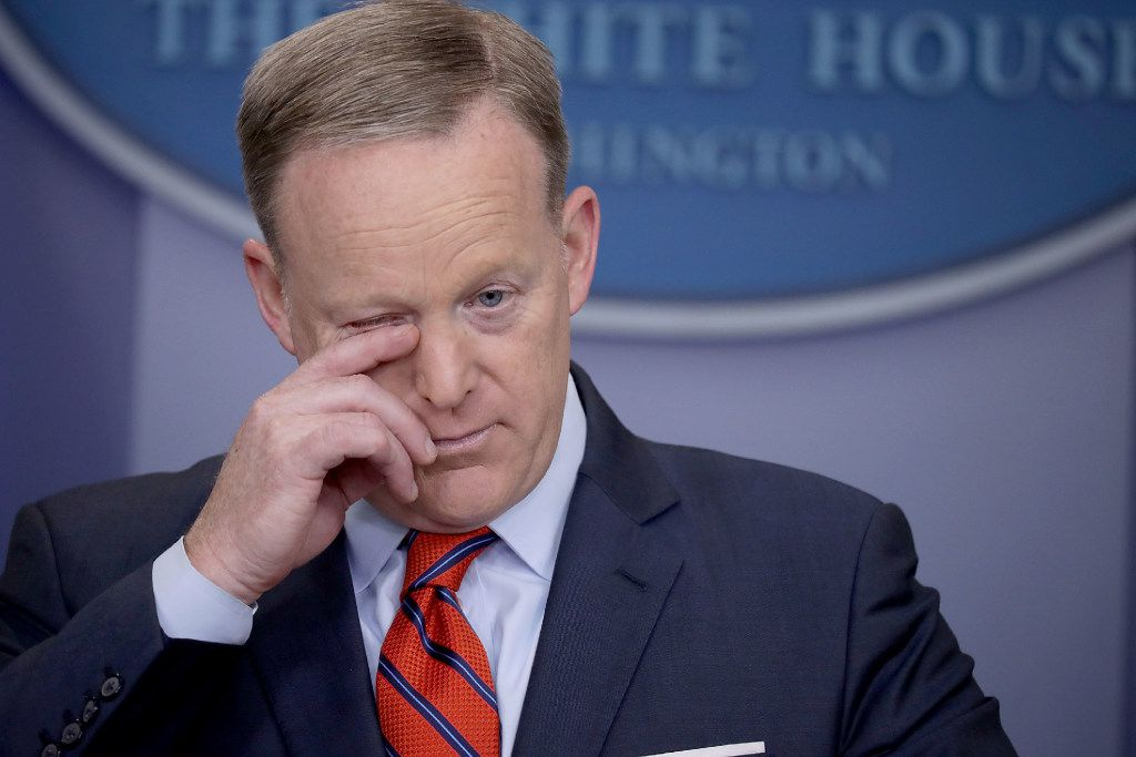 White House Press Secretary Sean Spicer answers reporters' questions during the daily news conference in the Brady Press Briefing Room at the White House April 11, 2017 in Washington, DC.