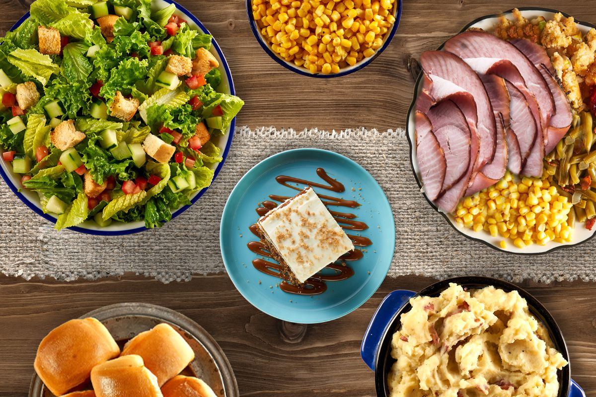 Cotton Patch Cafe's Ultimate Holiday Spread includes Easter Holiday Ham, dressing, gravy, a choice of three sides and a choice of carrot cake or cobbler.