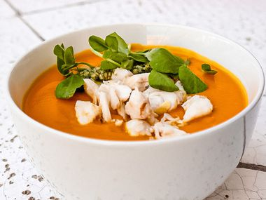 Chef Anastacia-Quinones Pittman shares her recipe for Carrot Habanero soup, shown here topped with crab.
