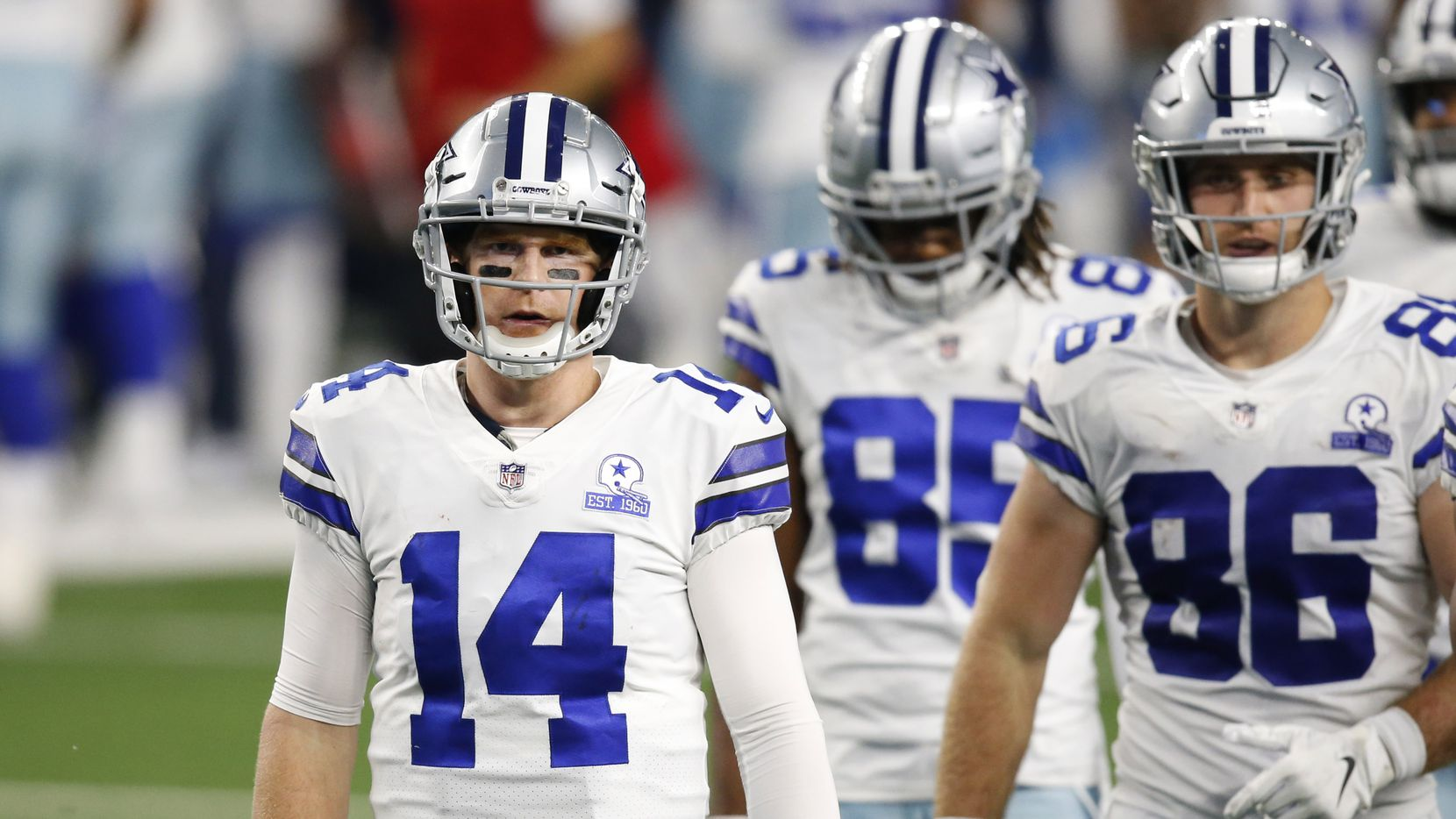 Dallas Cowboys quarterback Andy Dalton (14) makes his way onto the field in a game against the Arizona Cardinals during the third quarter of play at AT&T Stadium on Monday, October 19, 2020 in Arlington, Texas.