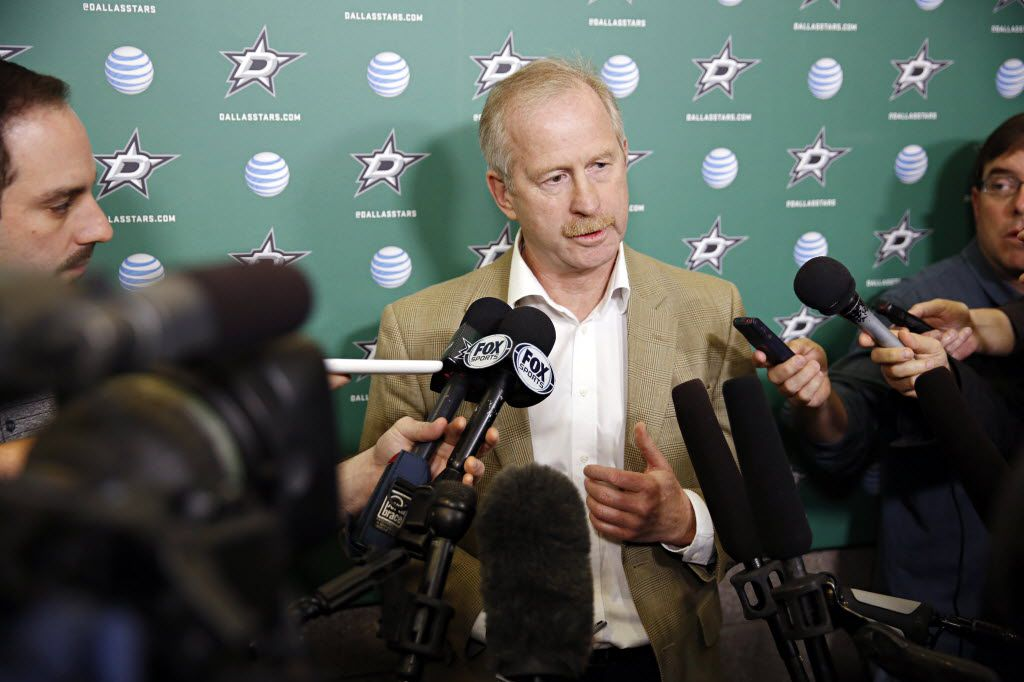 Dallas Stars general manager Jim Nill talks to media as the team cleaned out their lockers at Dr Pepper Arena Friday, May 13, 2016 in Frisco, Texas.